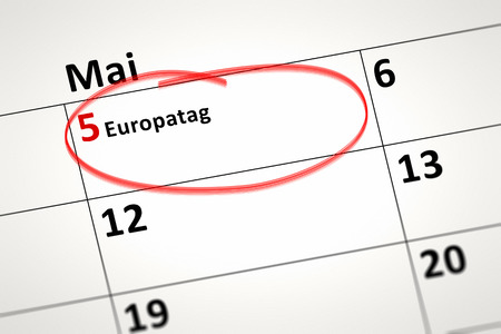 5th: An image of a calendar detail shows May the 5th Europe Day