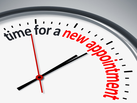 appointments: An image with a clock and the message time for a new appointment Stock Photo