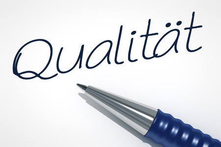pen quality: An image of a pen with the message quality in german language