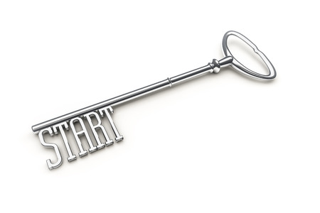 An image of a key with the word start photo