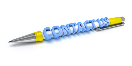 deliverable: An image of a every day ball pen with the message contact us Stock Photo