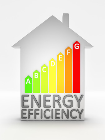 save heating costs: An image of an energy efficiency house Stock Photo