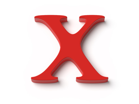 red x: An image of the letter x in red top view