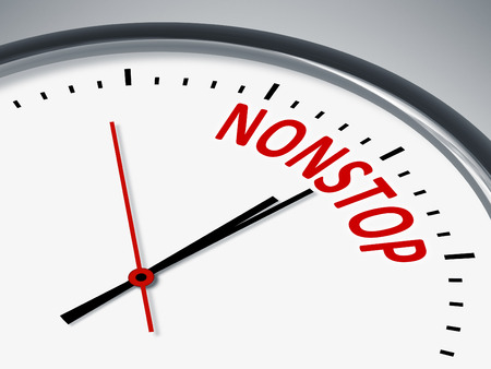 nonstop: An illustration of a clock with the word nonstop Stock Photo
