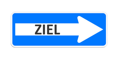 An image of a german one way sign with the word goal in german language photo