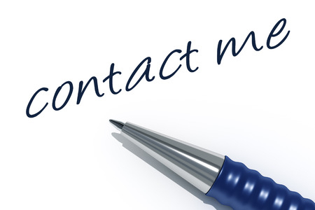 An image of a pen with the message contact me Stockfoto