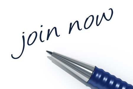 join now: An image of a pen with the message join now