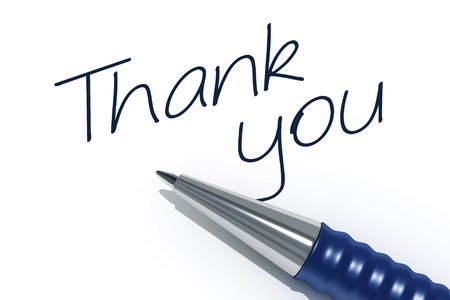 tip style design: An image of a pen with the message thank you Stock Photo