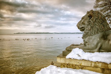 starnberger see: An image of the lions at Tutzing Bavaria Germany