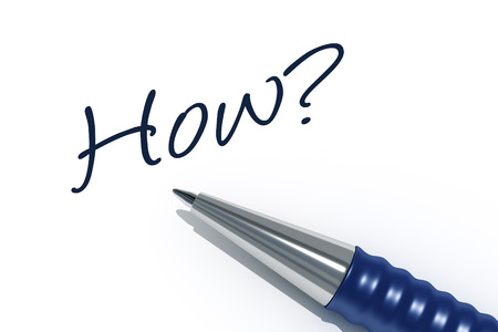 tip style design: An image of a pen with the message how Stock Photo