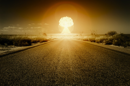 An image of a road to a nuclear bomb explosion