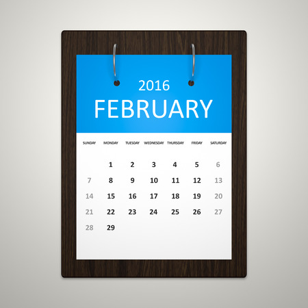 event planning: An image of a stylish calendar for event planning february 2016 Stock Photo