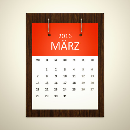 event planning: An image of a german calendar for event planning 2016 march