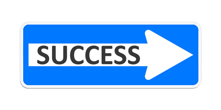 An image of a german one way sign with the word success photo