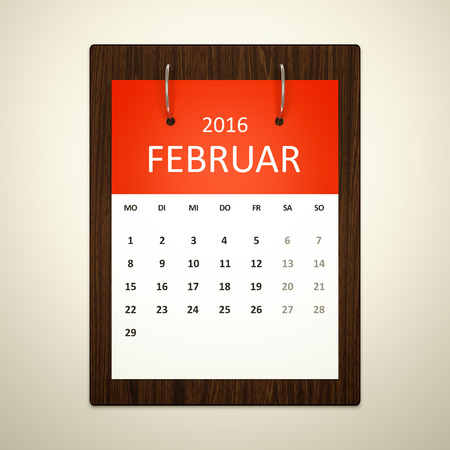 event planning: An image of a german calendar for event planning 2016 february Stock Photo