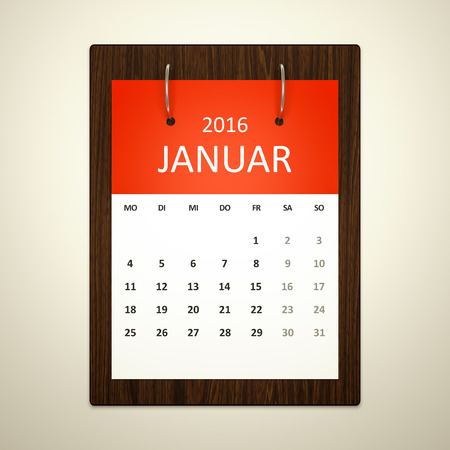 event planning: An image of a german calendar for event planning 2016 january
