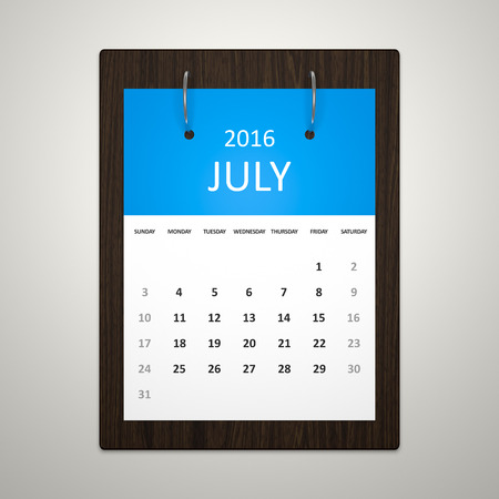 event planning: An image of a stylish calendar for event planning 2016 july Stock Photo