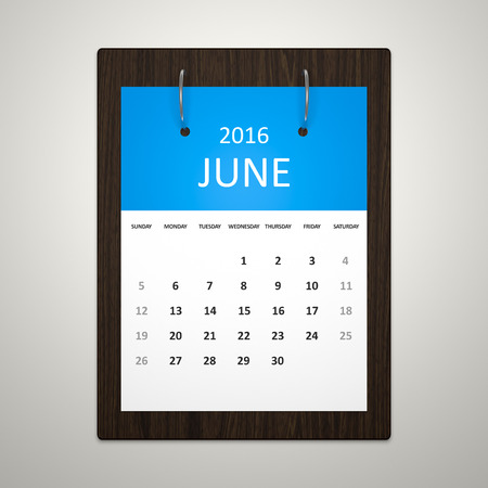event planning: An image of a stylish calendar for event planning 2016 june