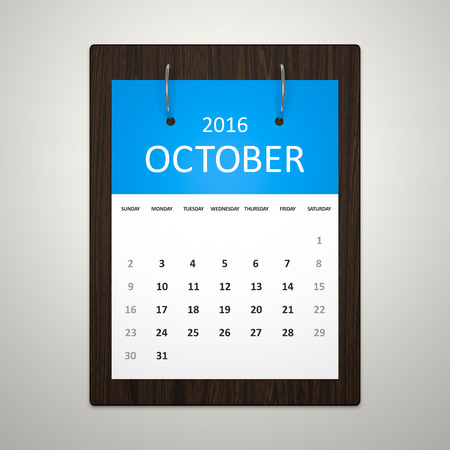 event planning: An image of a stylish calendar for event planning 2016 october
