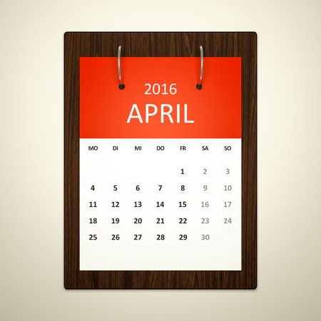 event planning: An image of a german calendar for event planning 2016 april Stock Photo