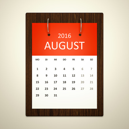 event planning: An image of a german calendar for event planning 2016 august