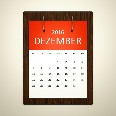 event planning: An image of a german calendar for event planning 2016 december