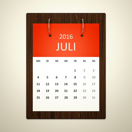 event planning: An image of a german calendar for event planning 2016 july