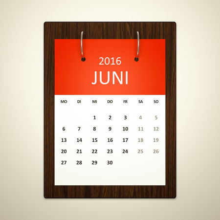 event planning: An image of a german calendar for event planning 2016 june Stock Photo