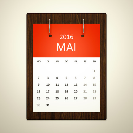 event planning: An image of a german calendar for event planning 2016 may