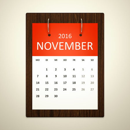 event planning: An image of a german calendar for event planning 2016 november