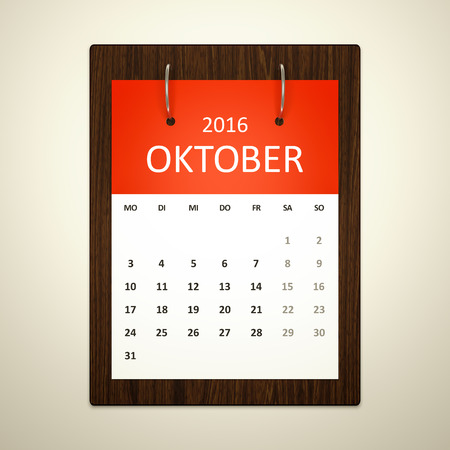 event planning: An image of a german calendar for event planning 2016 october Stock Photo