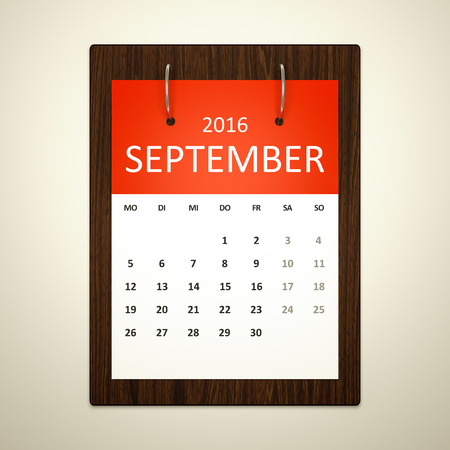 event planning: An image of a german calendar for event planning 2016 september Stock Photo