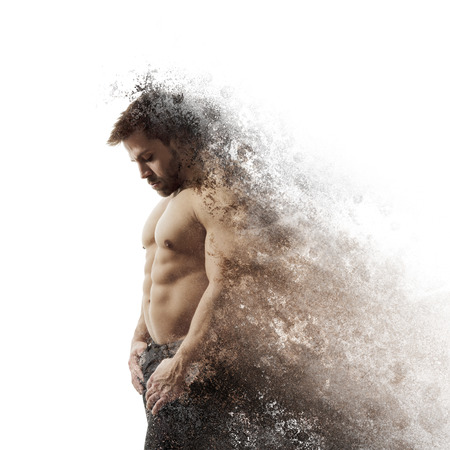 An image of a handsome young muscular sports man dissolving photo