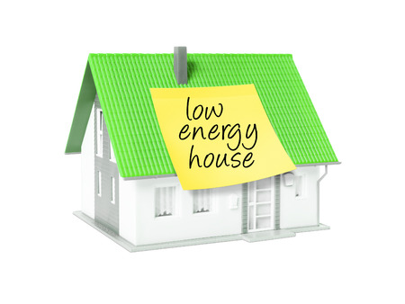 low energy: An image of a nice model house with a text low energy house