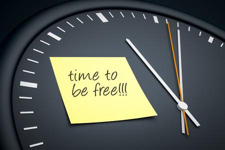 llegar tarde: Una imagen de un reloj oscuro con una nota y el mensaje tiempo pegajoso para ser libre