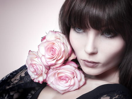 pink lips: An image of a beautiful woman and roses