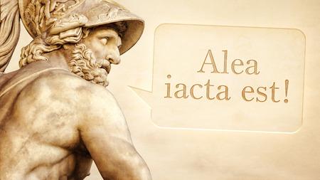 escultura romana: La escultura romana de Menelao con el mensaje de la suerte est� echada en lengua latina