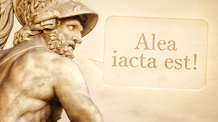 latin language: The Roman sculpture of Menelaus with the message the die is cast in latin language