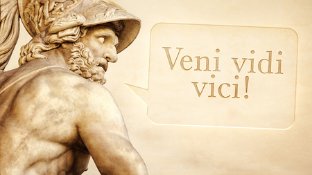 The Roman sculpture of Menelaus with the message I came, I saw, I conquered in latin language photo