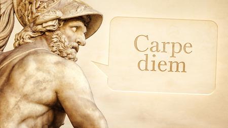 escultura romana: La escultura romana de Menelao con el mensaje de aprovechar el d�a en lengua latina Foto de archivo