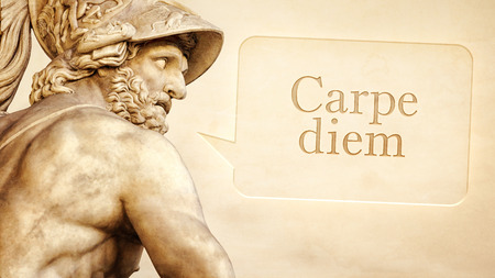 latin language: The Roman sculpture of Menelaus with the message seize the day in latin language