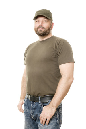 bearded: An image of a handsome man with a beard body isolated on white