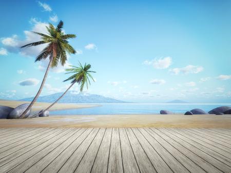 An image of a beautiful palm tree beach