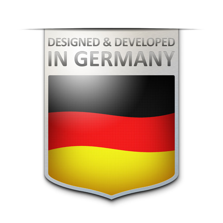 designed: An image of a nice designed and developed in germany badge