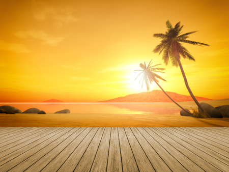A beautiful sunset over the ocean with a palm tree and wooden jetty foreground