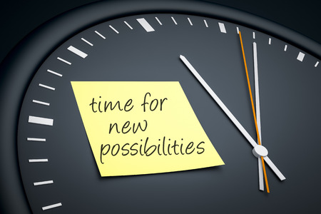 possibilities: An image of a dark clock with a sticky note and message time for new possibilities Stock Photo
