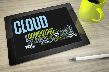tag cloud: An image of a tablet pc with tag cloud cloud computing Stock Photo