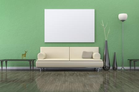 独自のコンテンツのソファの背景で緑の部屋