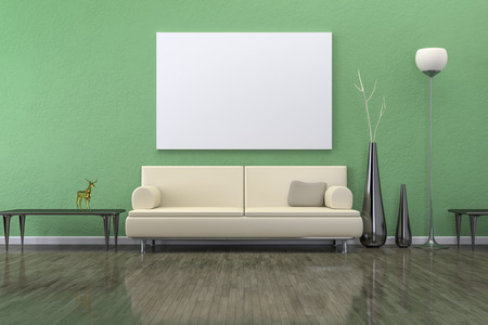 living room furniture: A green room with a sofa and background for your own content Stock Photo