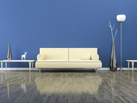 blue grey: A green room with a sofa and background for your own content Stock Photo